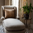 Master bedroom lounge seating, NYC, Thomas Burak Interiors