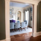 Doorway into dining room with blue mural, NYC, Thomas Burak Interiors