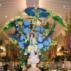 Monkey with delphinium and hydrangeas at Macy's flower show NYC